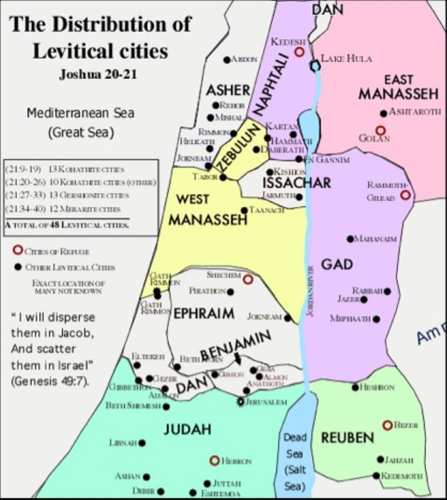 Map Levitical Cities Refuge""
