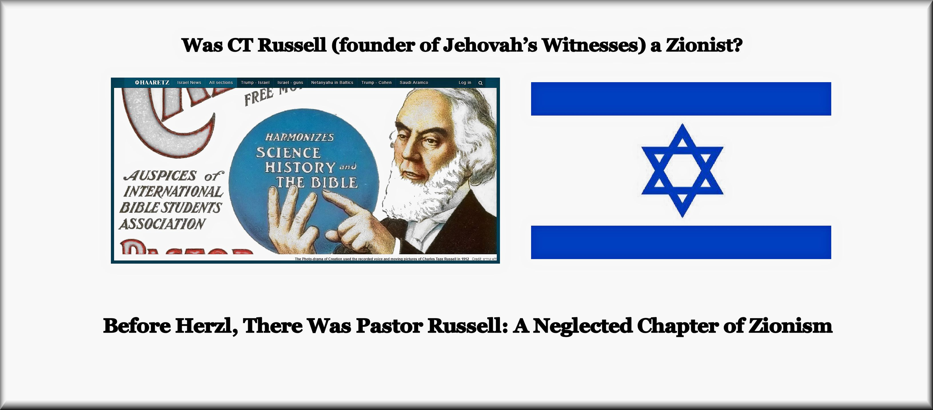 Was CT Russell (founder of Jehovah's Witnesses) a Zionist? |